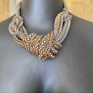 BCBGeneration chunky silver/gold knot necklace